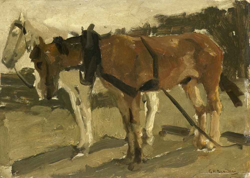 A Brown and a White Horse in Scheveningen - George Hendrik Breitner
