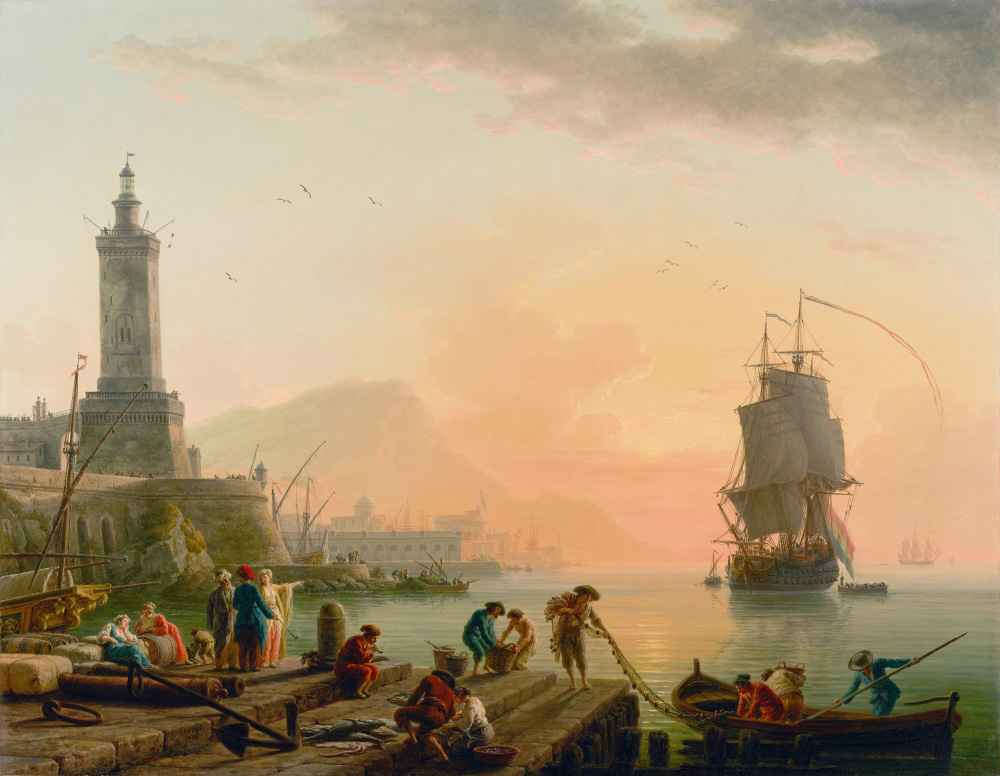 A Calm at a Mediterranean Port - Claude Joseph Vernet