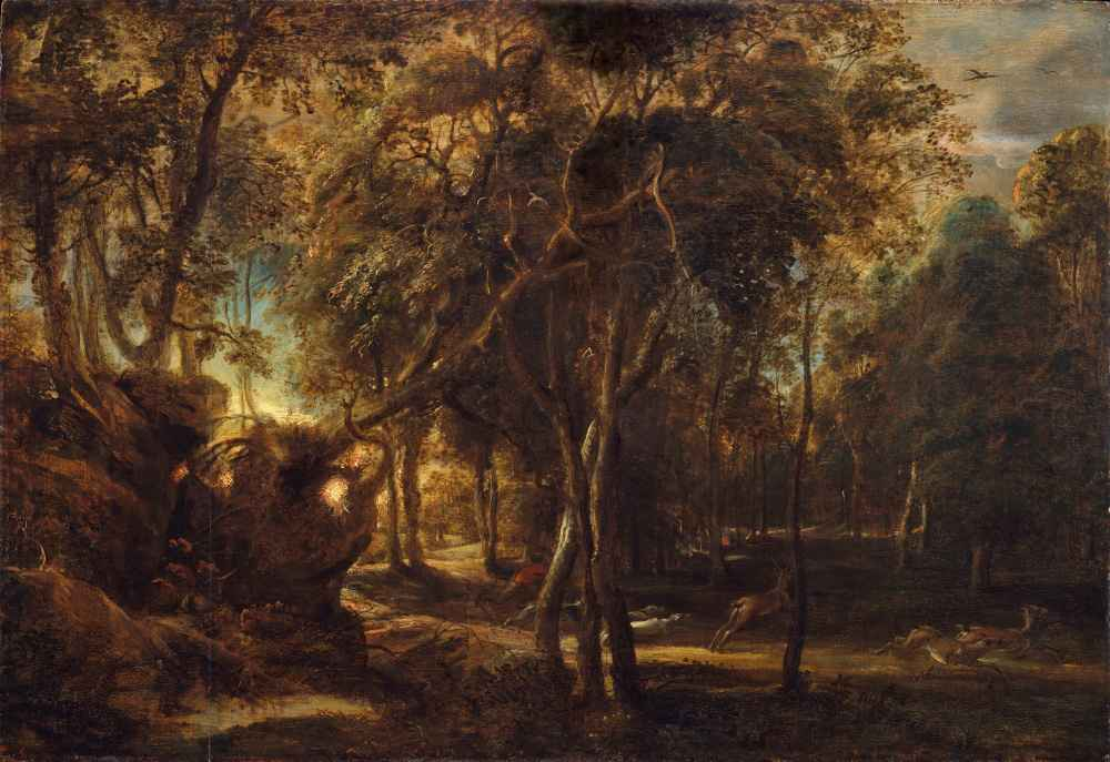 A Forest at Dawn with a Deer Hunt - Peter Paul Rubens
