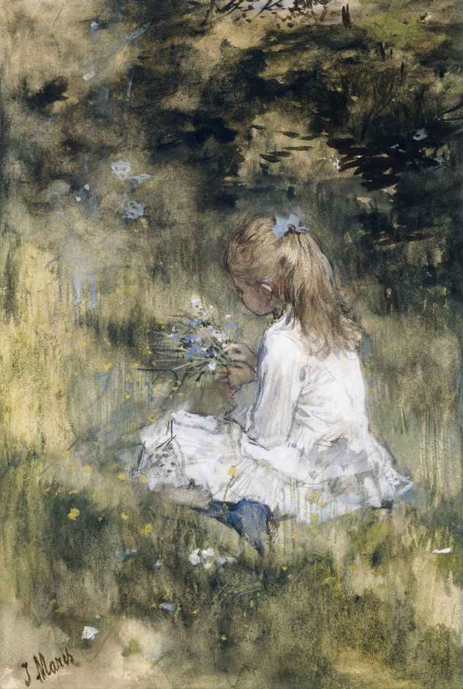 A Girl with Flowers on the Grass - Matthijs Maris