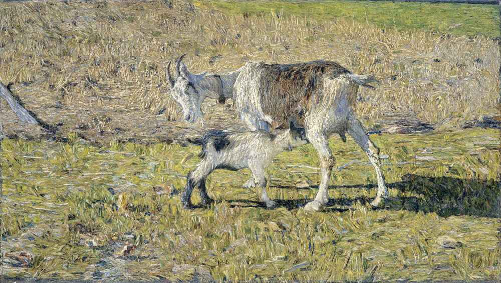 A Goat with her Kid - Giovanni Segantini