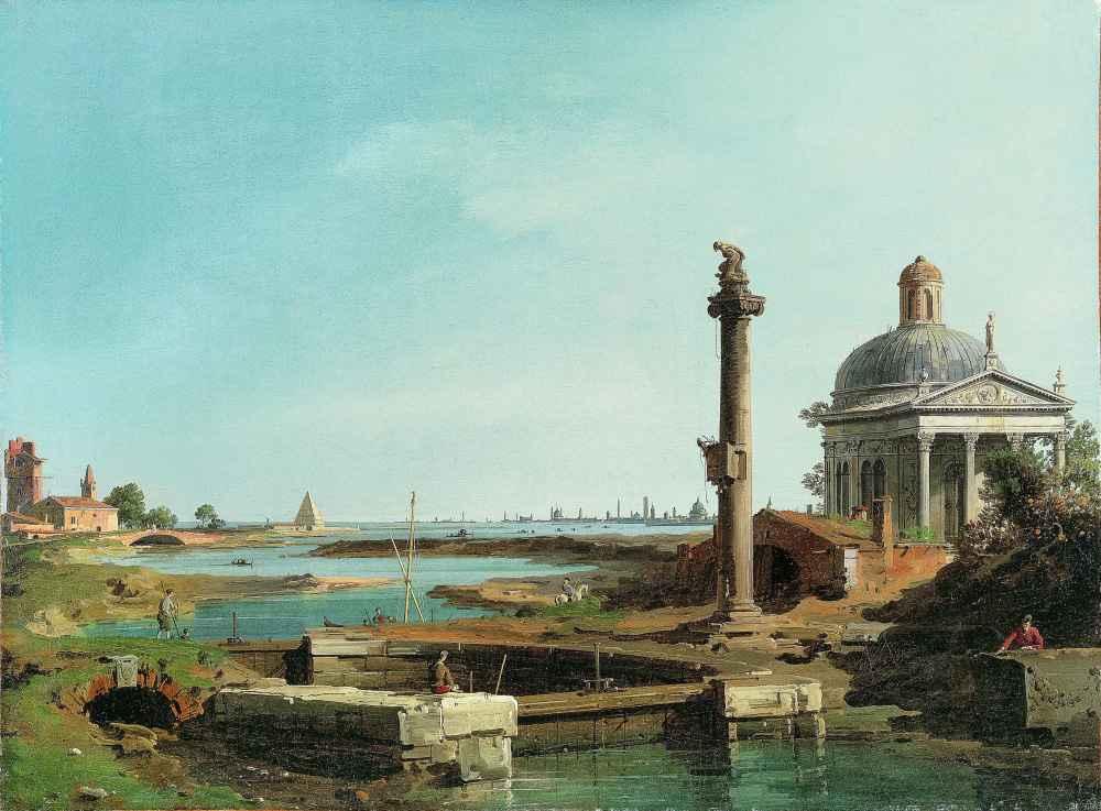 A Lock, a Column, and a Church beside a Lagoon - Canaletto - Bernardo