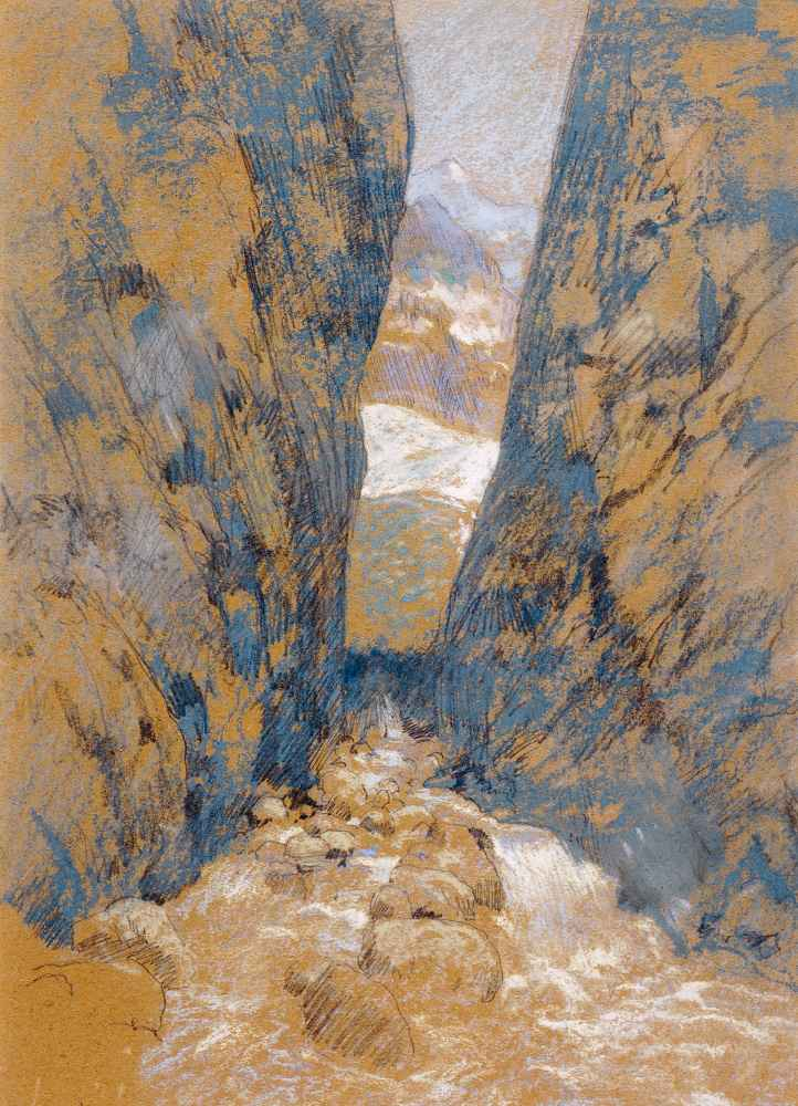 A Mountain Gorge - John Henry Twachtman