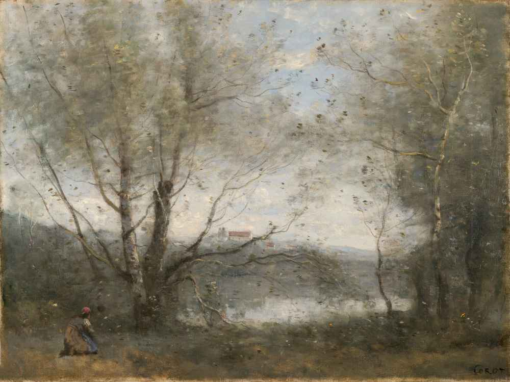 A Pond Seen through the Trees - Jean Baptiste Camille Corot