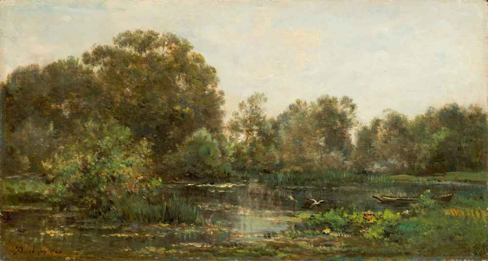 A River Landscape with Storks - Charles-Francois Daubigny