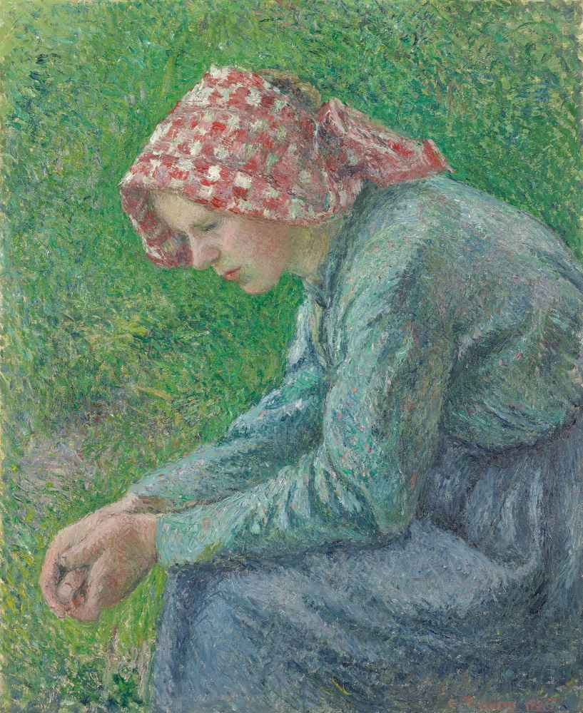 A Seated Peasant Woman - Camille Pissarro