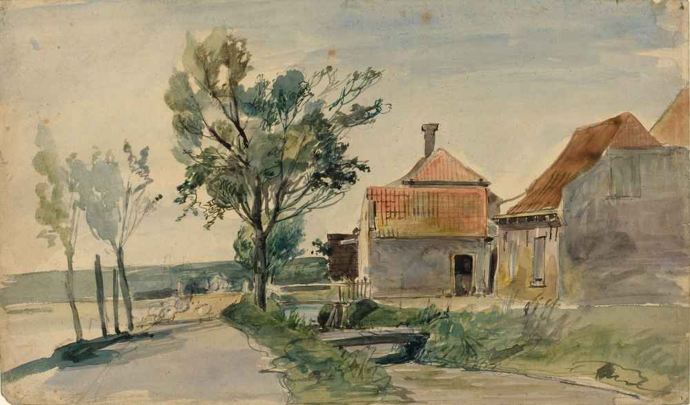 A Stream Running between Houses and a Road - Johan Barthold Jongkind