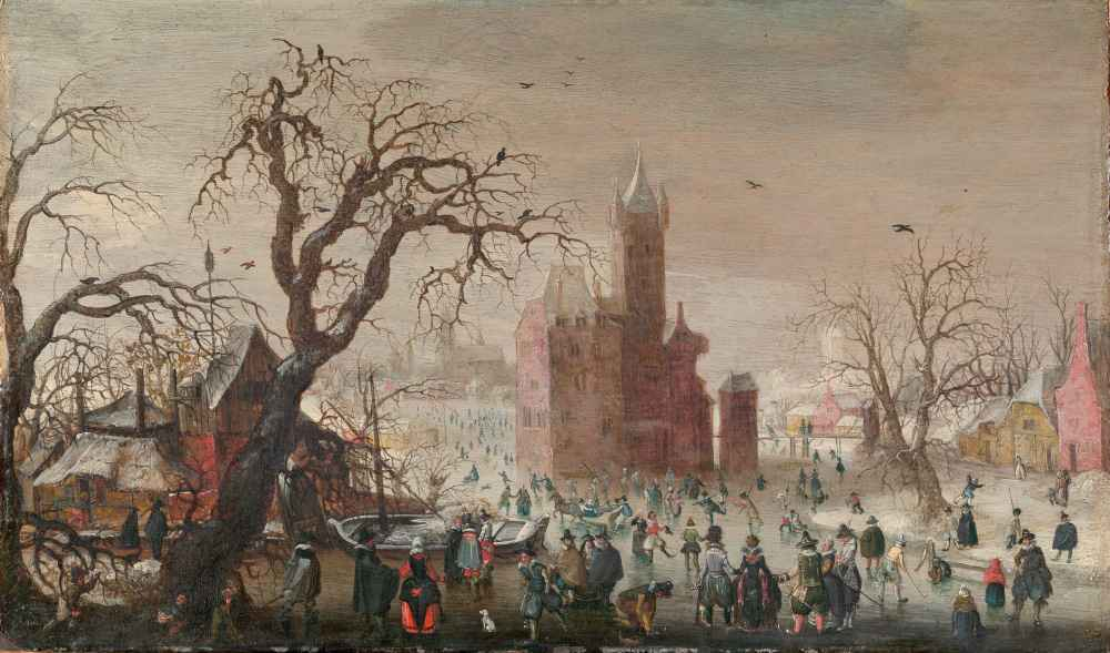 A Winter Landscape with Ice Skaters and an Imaginary Castle - Christof
