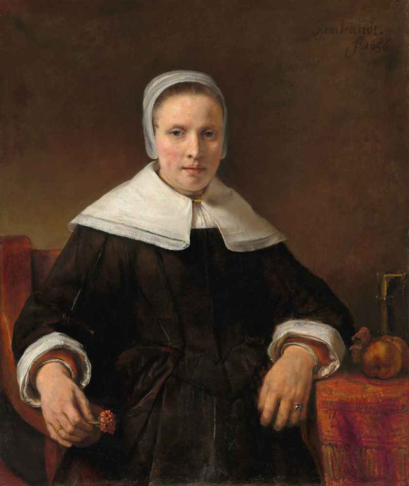 A Woman Holding a Pink - Rembrandt Harmenszoon van Rijn