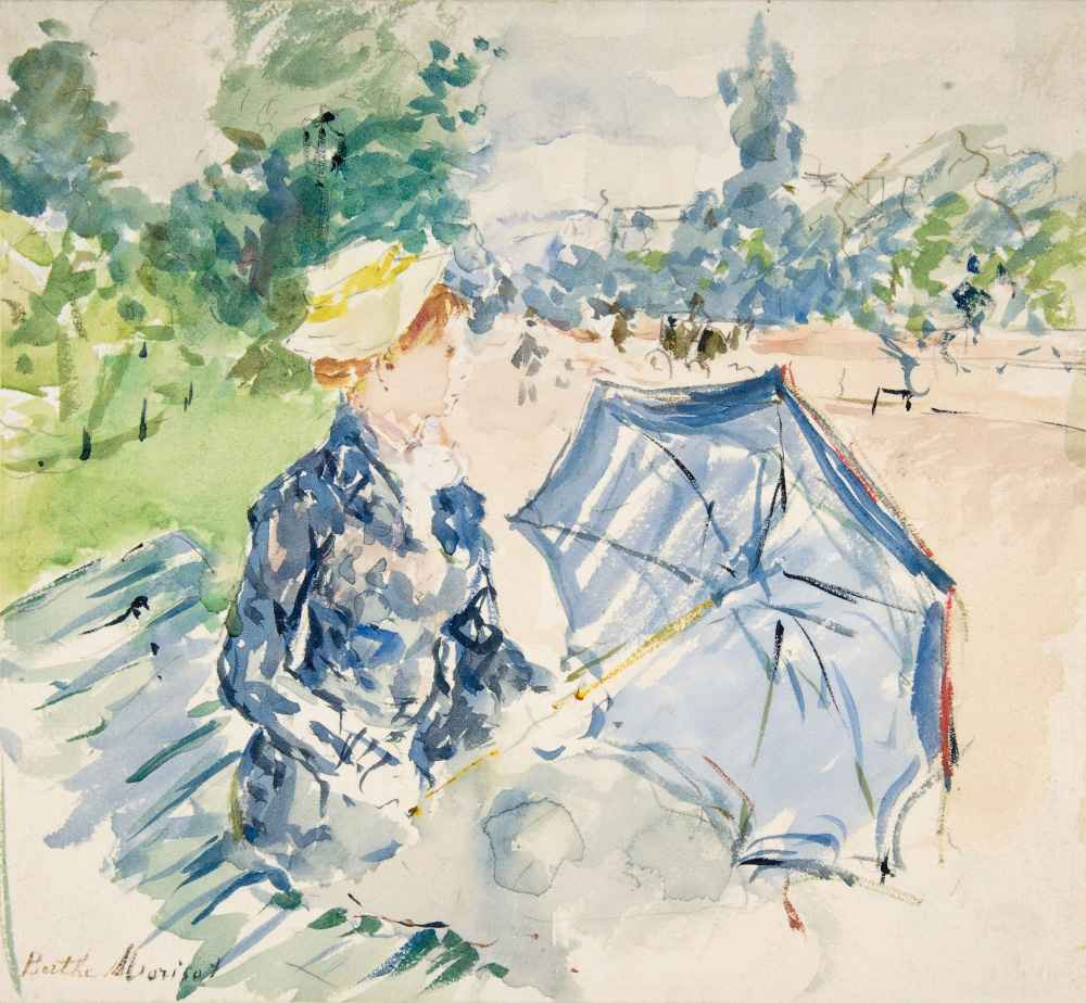 A Woman Seated at a Bench on the Avenue du Bois - Berthe Morisot