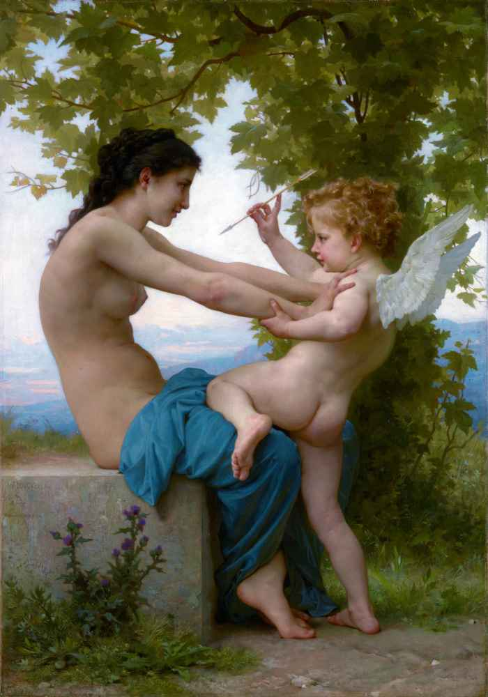 A Young Girl Defending Herself against Eros 2 - William-Adolphe Bougue