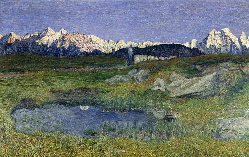 Alpine Landscape at Sunset - Giovanni Segantini