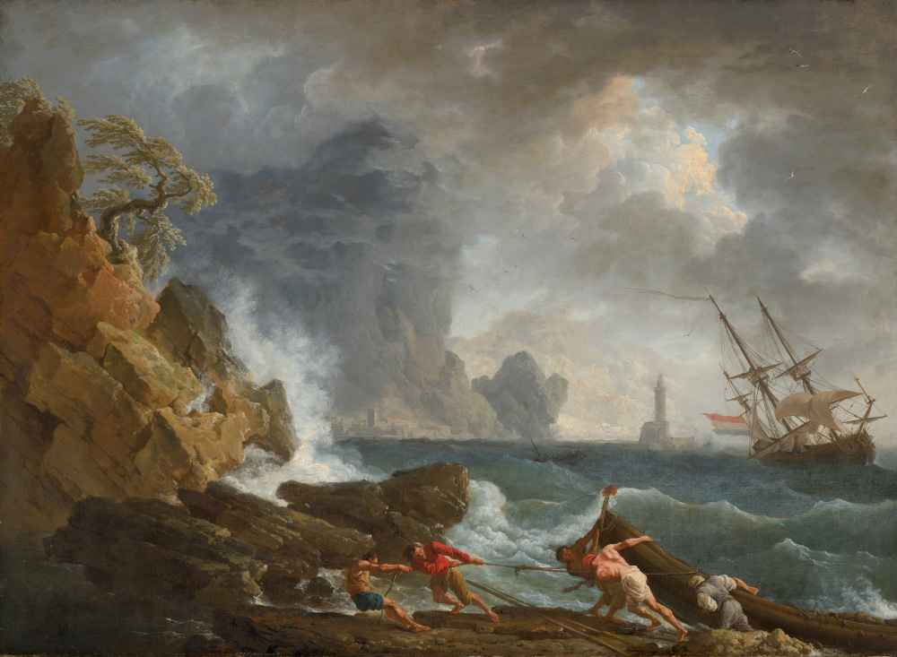 An Italian Harbour in Stormy Weather - Claude Joseph Vernet