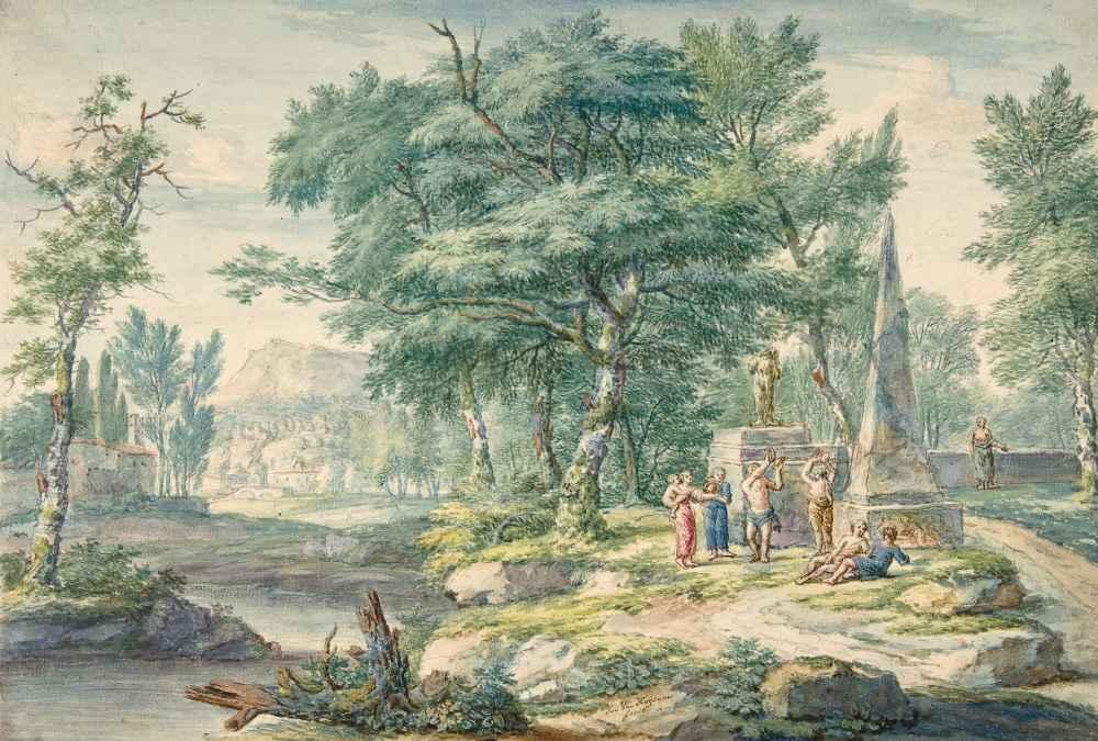 Arcadian Landscape with Figures Making Music - Jan van Huysum