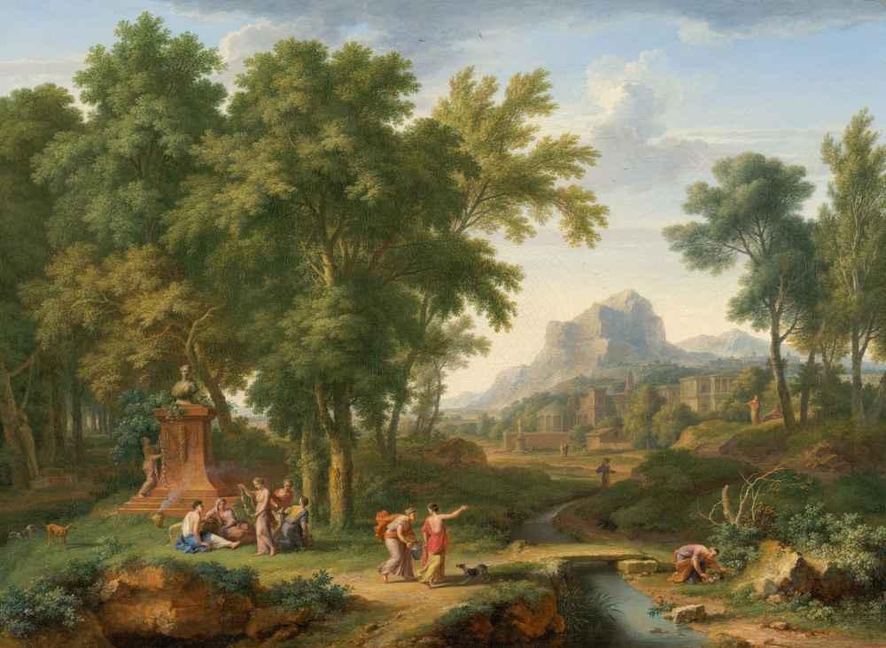 Arcadian Landscape with a Bust of Flora - Jan van Huysum