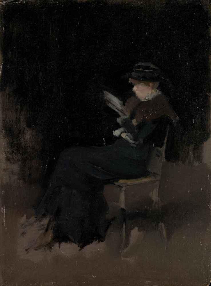 Arrangement in Black Girl Reading - James Abbott McNeill Whistler