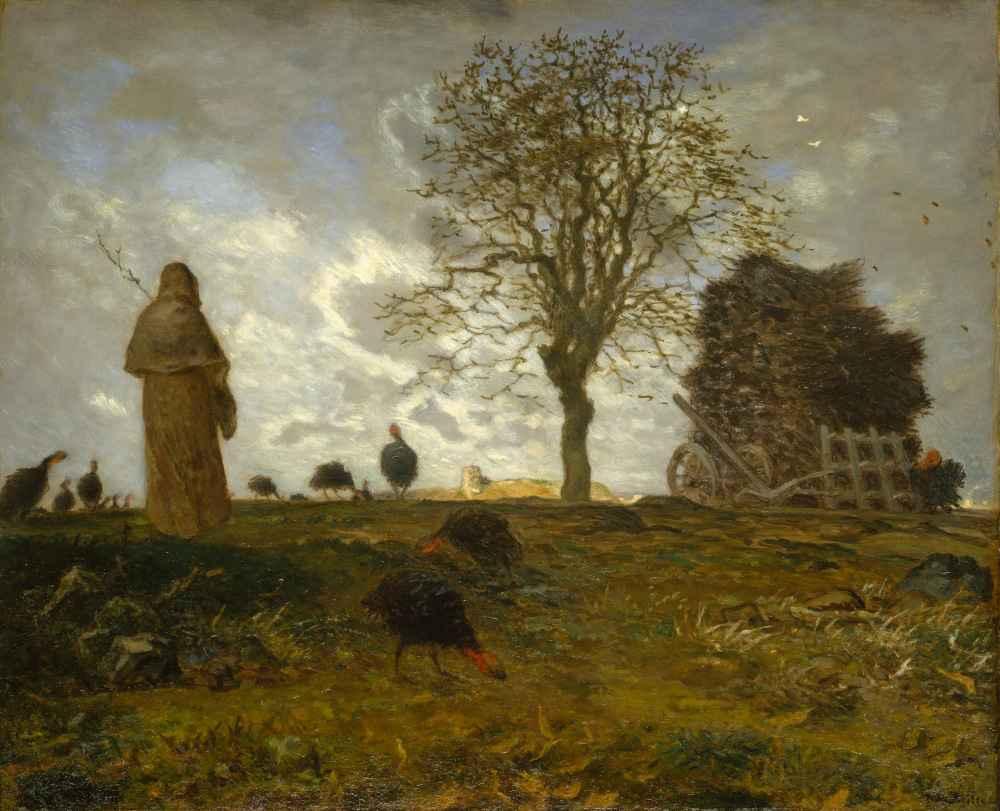 Autumn Landscape with a Flock of Turkeys - Jean Francois Millet