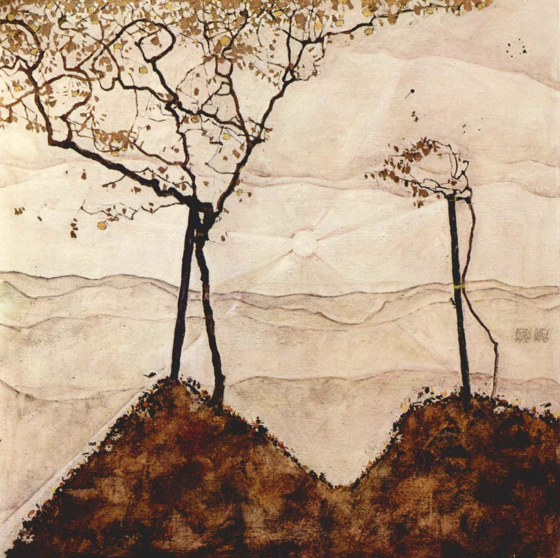 Autumn sun and trees - Schiele