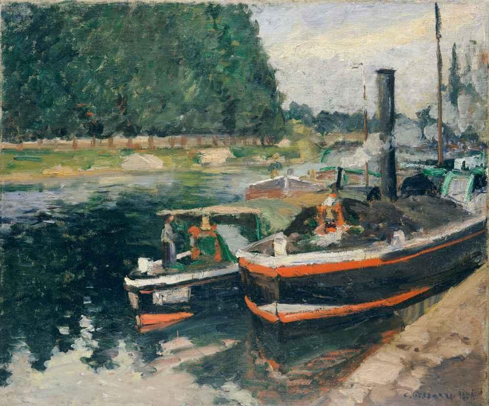 Barges at Pontoise - Camille Pissarro
