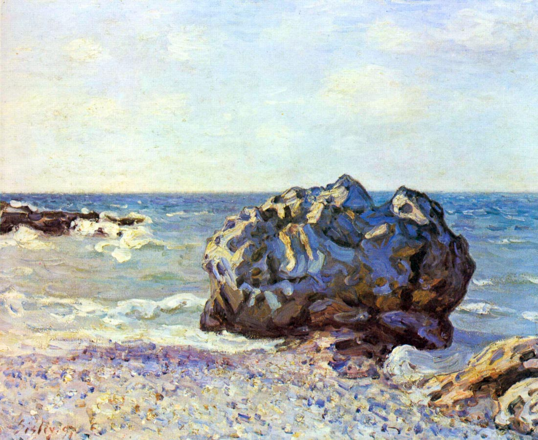 Bay of long-country with rock - Sisley