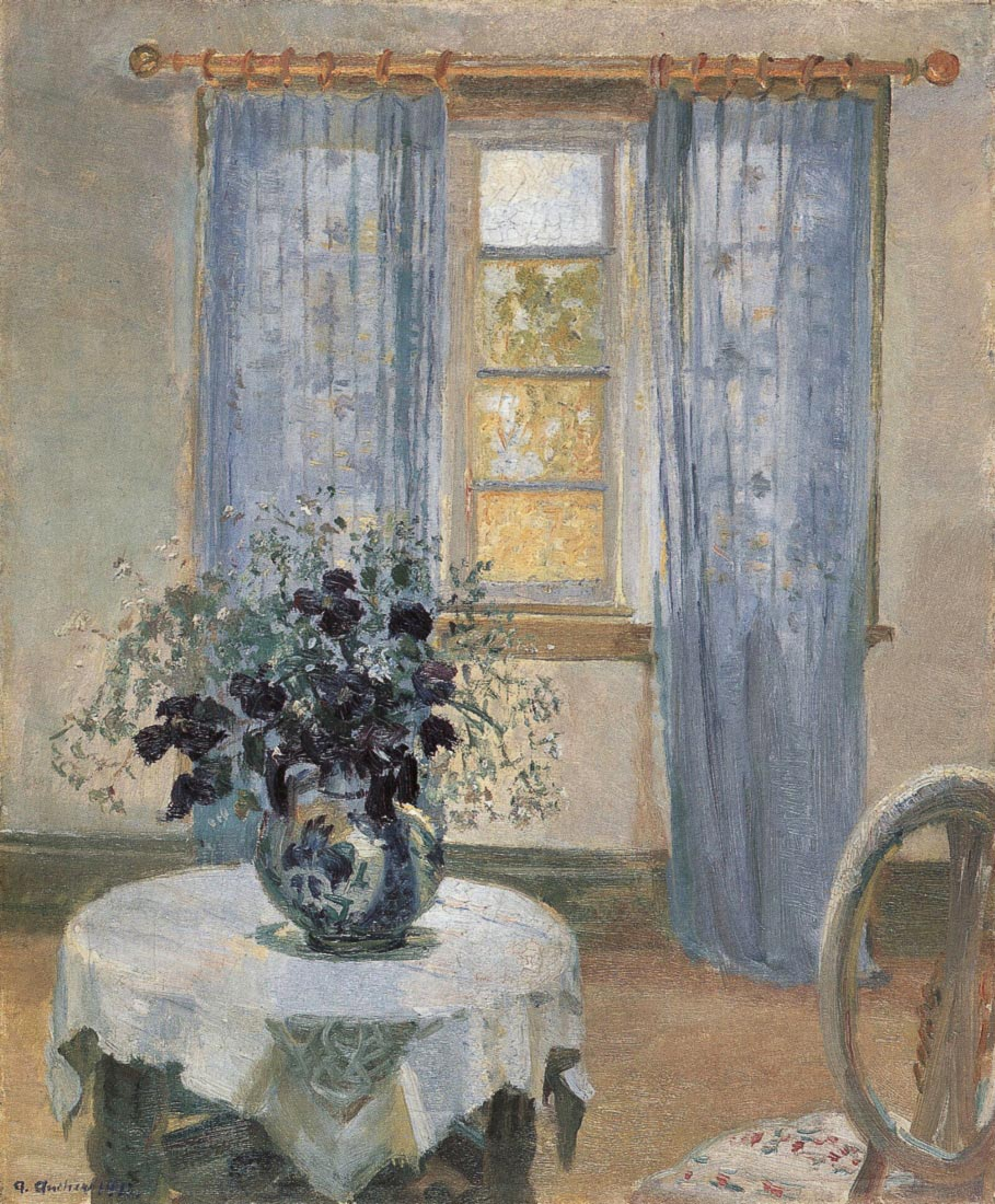 Blue clematis in the studio of the artist - Anna Ancher