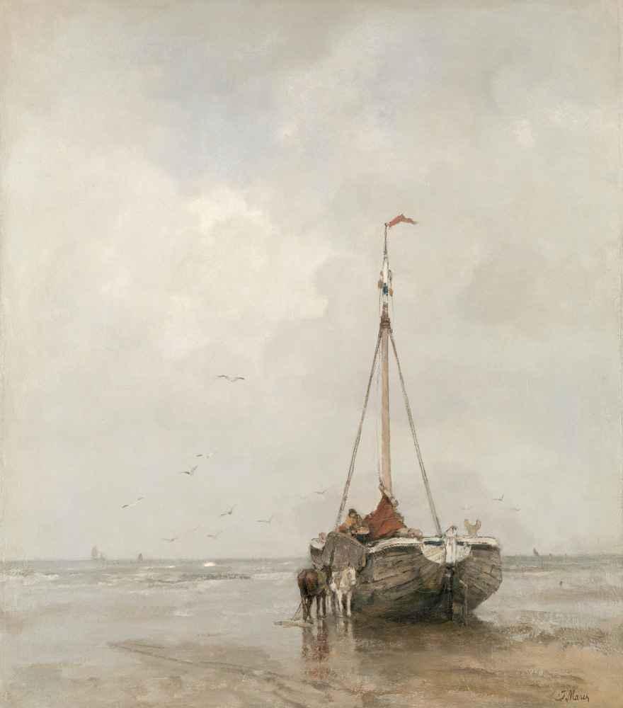 Bluff-bowed Fishing Boat on the Beach at Scheveningen - Matthijs Maris