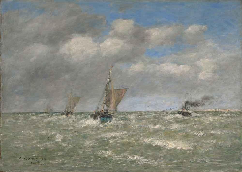 Boats Returning to Port, Trouville - Eugene Boudin