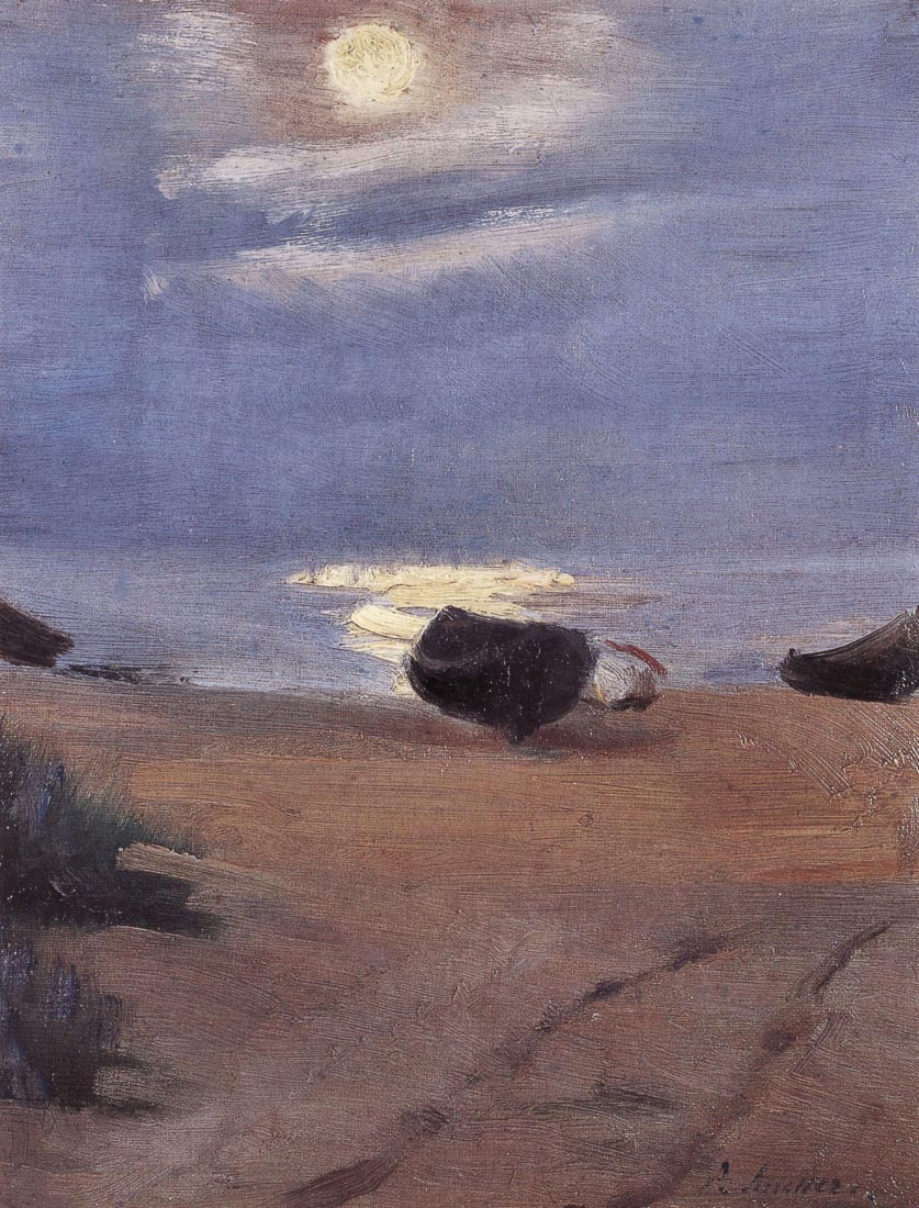 Boats in the moonlight on South Beach - Anna Ancher