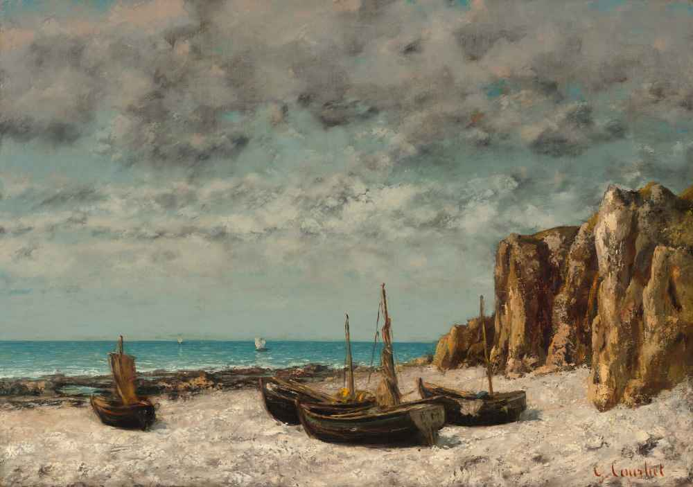 Boats on a Beach, Etretat - Gustave Courbet