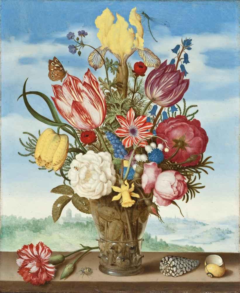 Bouquet of Flowers on a Ledge - Ambrosius Bosschaert