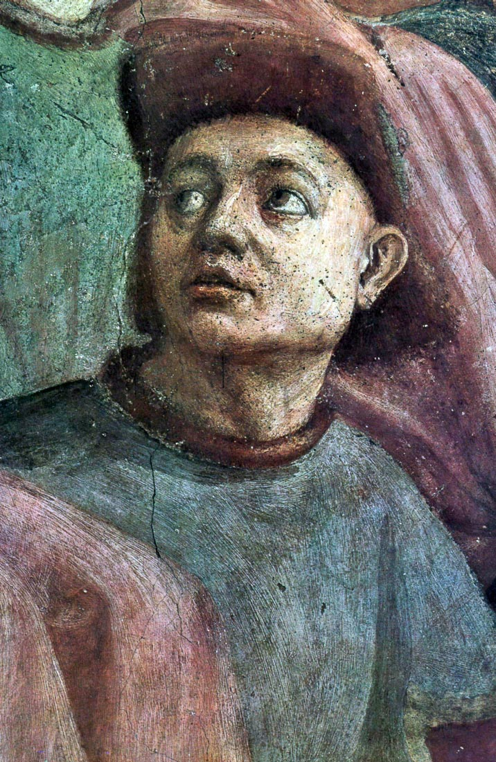 Brancacci Chapel - awakening Theophilus son detail - Masaccio