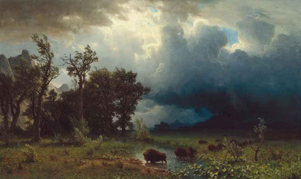 Buffalo Trail - The Impending Storm - Albert Bierstadt