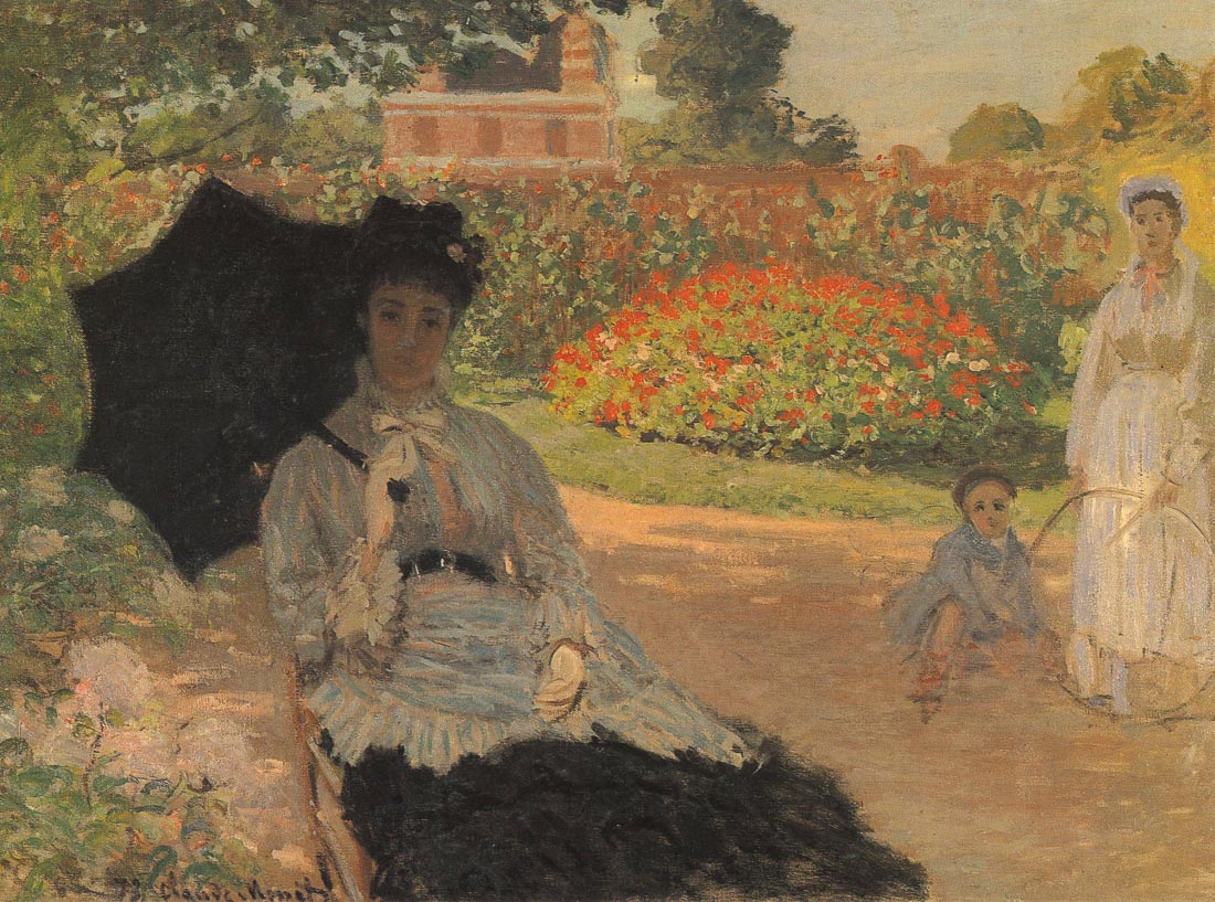 Camille in the garden with Jean and his nanny - Monet