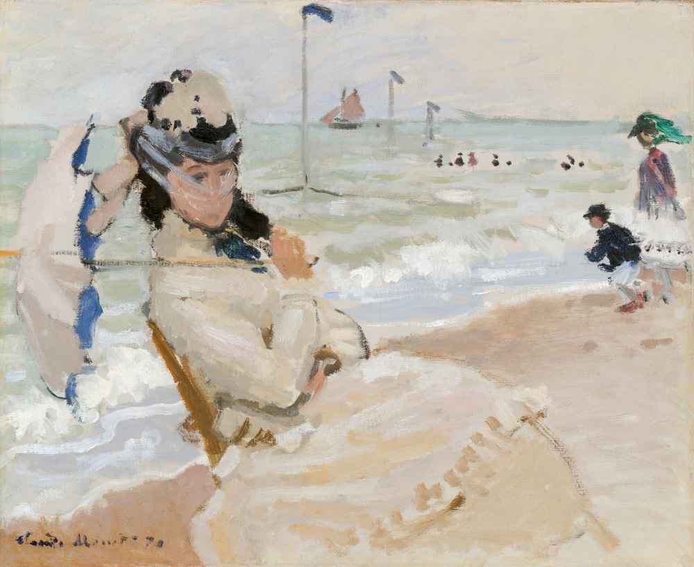 Camille on the Beach in Trouville - Claude Monet