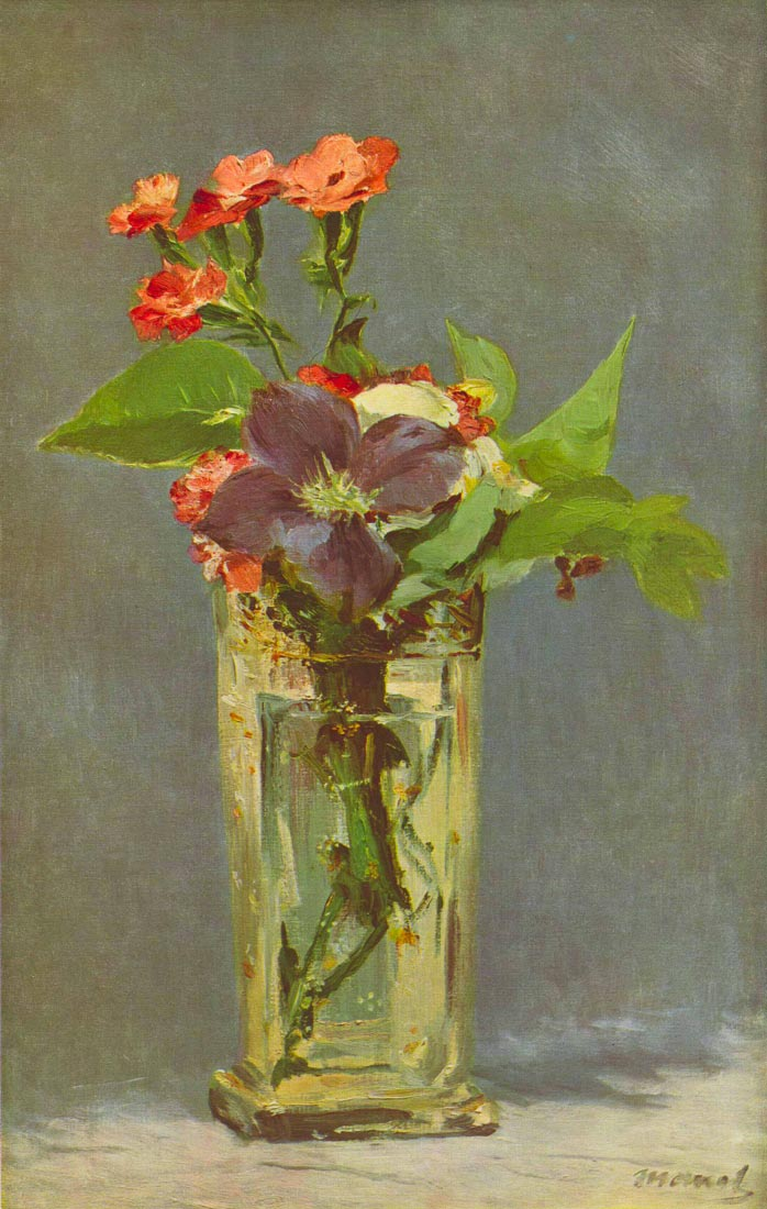 Carnations and Clematis in a Crystal Vase - Manet