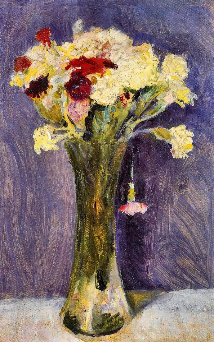 Carnations in a green vase - August Macke