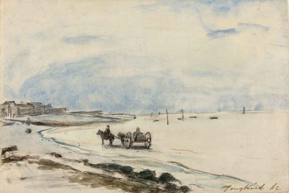 Cart on the Beach at Etretat - Johan Barthold Jongkind