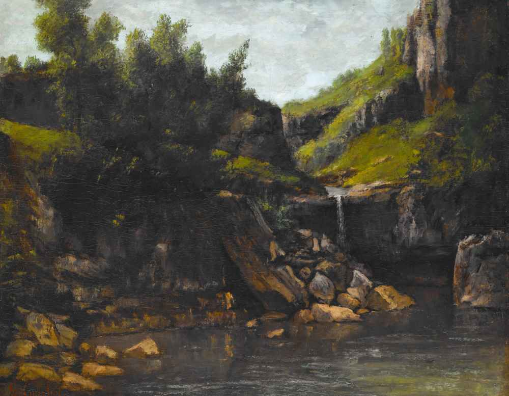 Cascade in a Rocky Landscape - Gustave Courbet