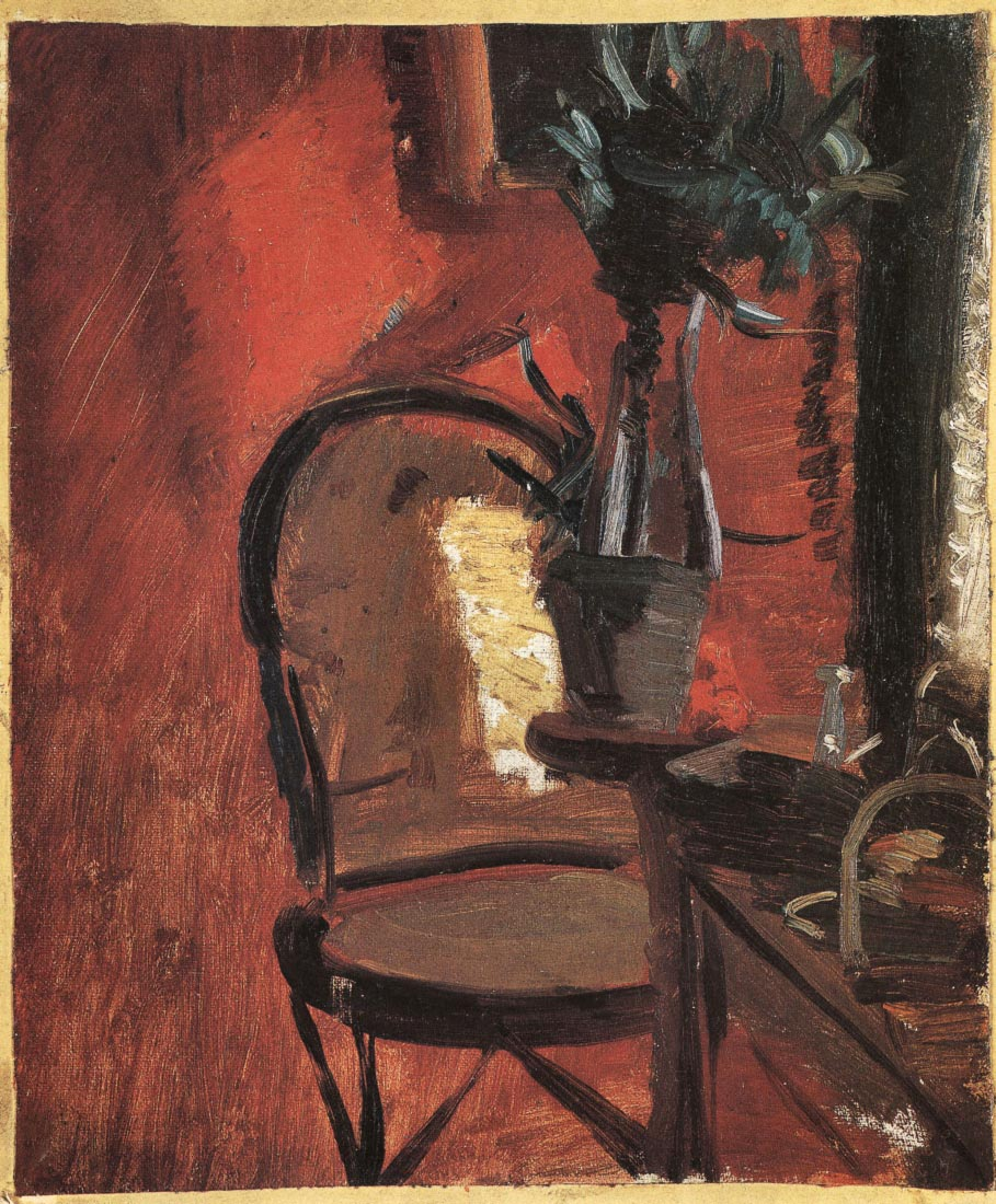Chair with a plant in front of red wall - Anna Ancher