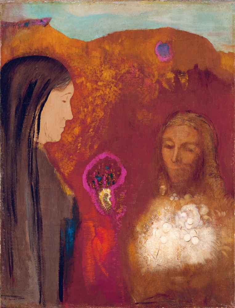 Christ and the Samaritan Woman (The White Flower Bouquet) - Odilon Red