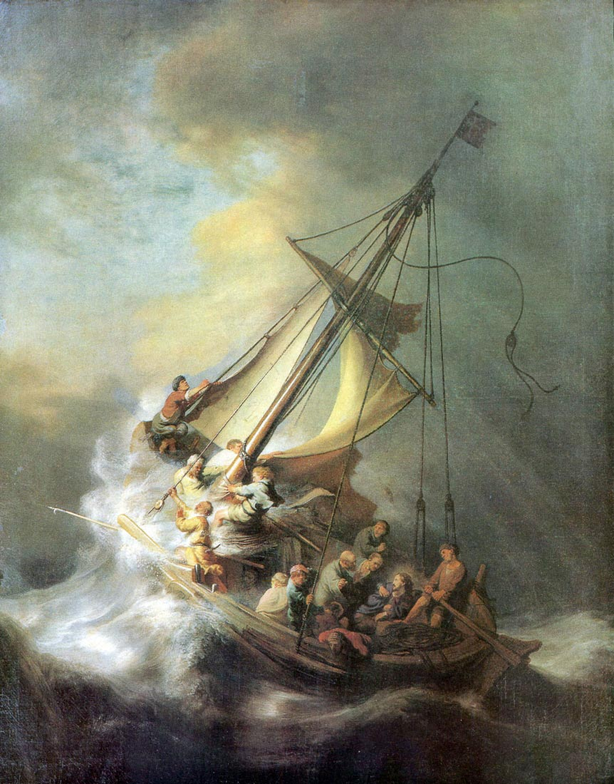 Christ in a storm on the sea of Galilee - Rembrandt