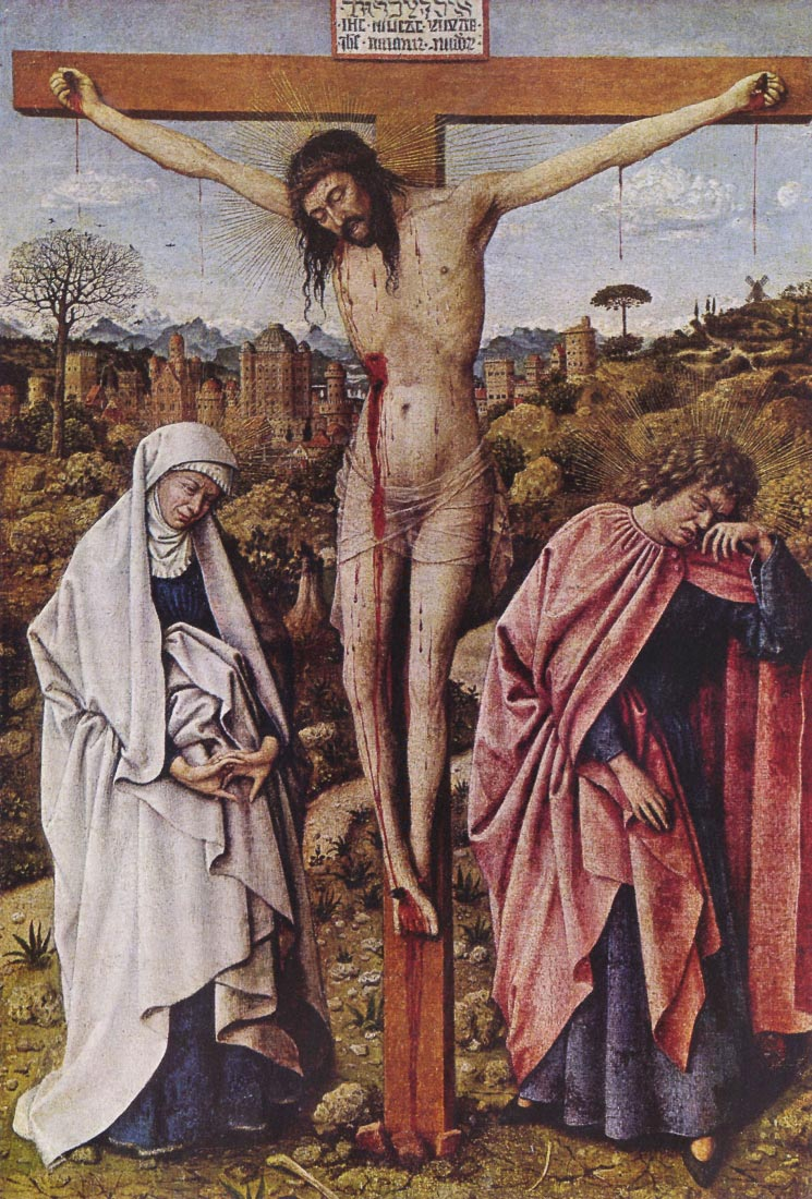 Christ on the cross between Mary and John - Jan Van Eyck