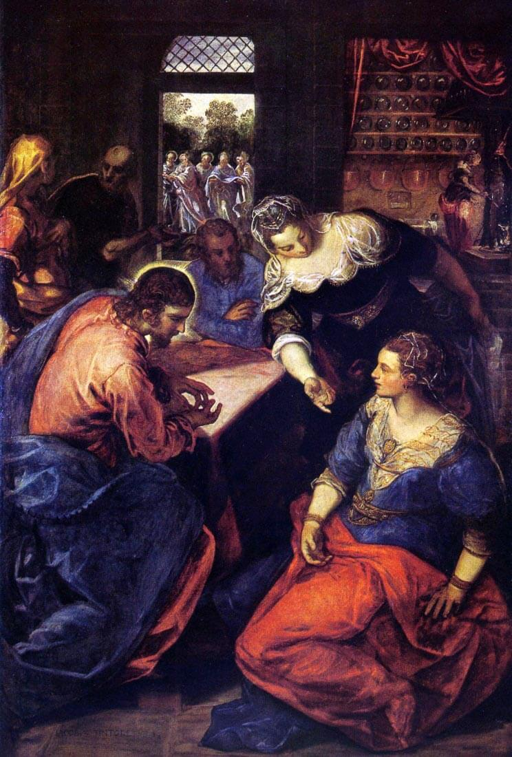 Christ with Mary and Martha - Tintoretto
