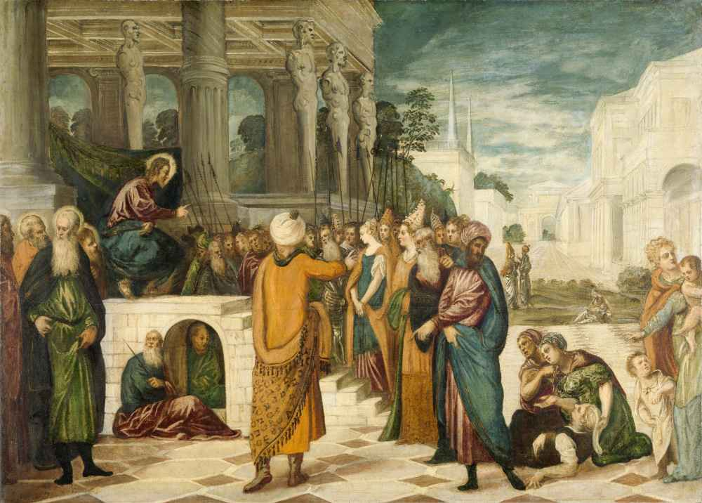 Christ with the Adulterous Woman - Jacopo Tintoretto