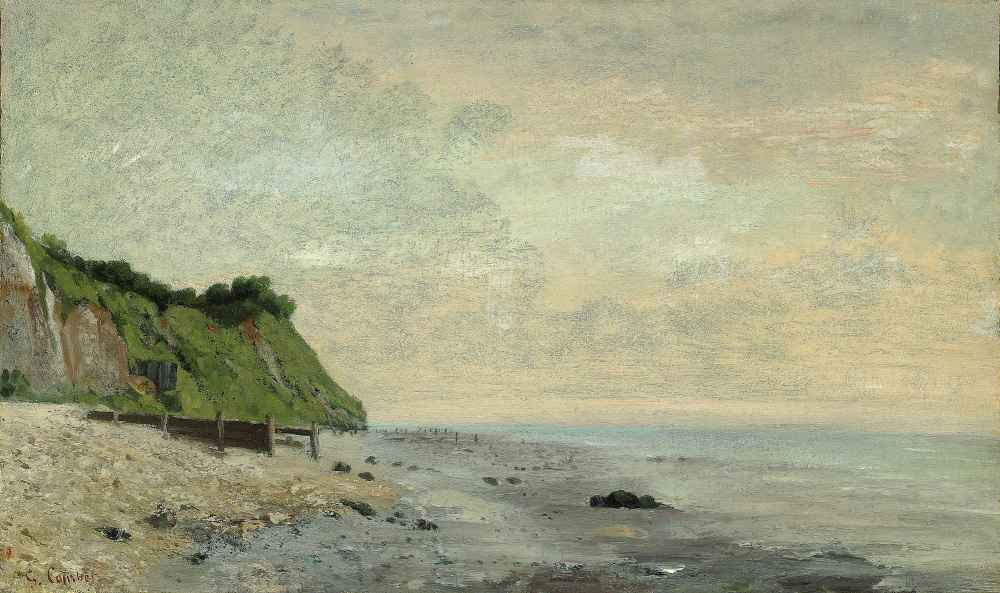 Cliffs on the Sea Coast - Small Beach, Sunrise - Gustave Courbet