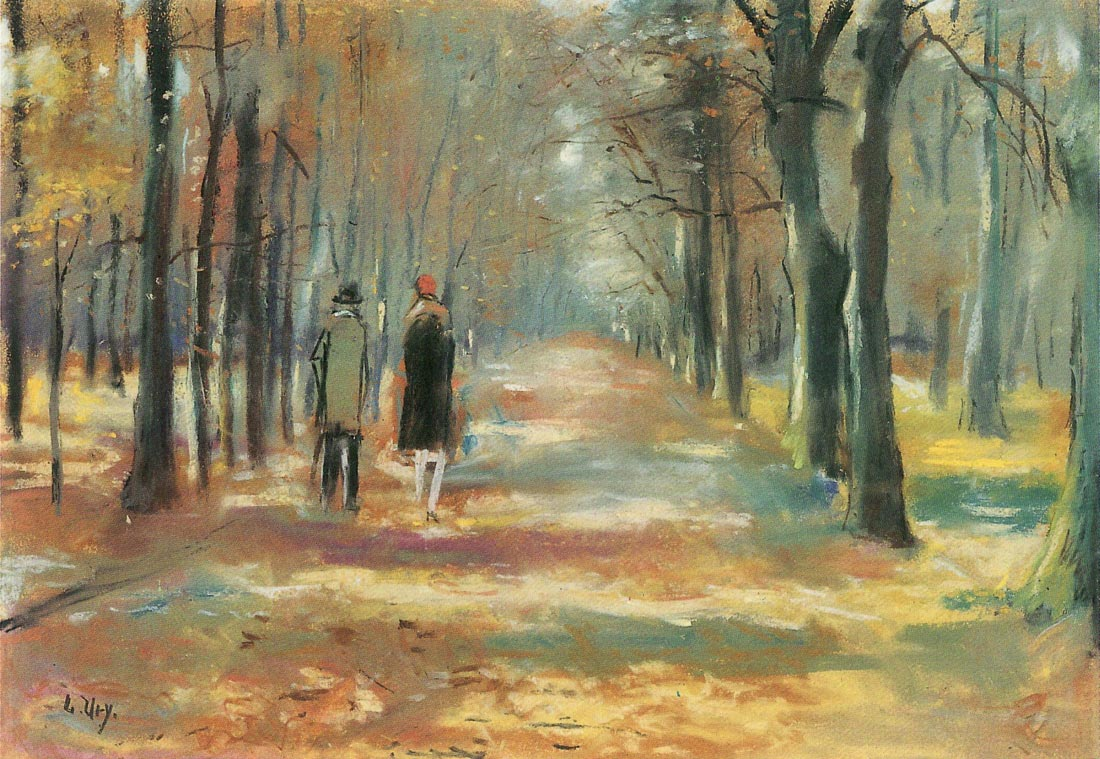 Couple walking in the woods - Lesser Ury