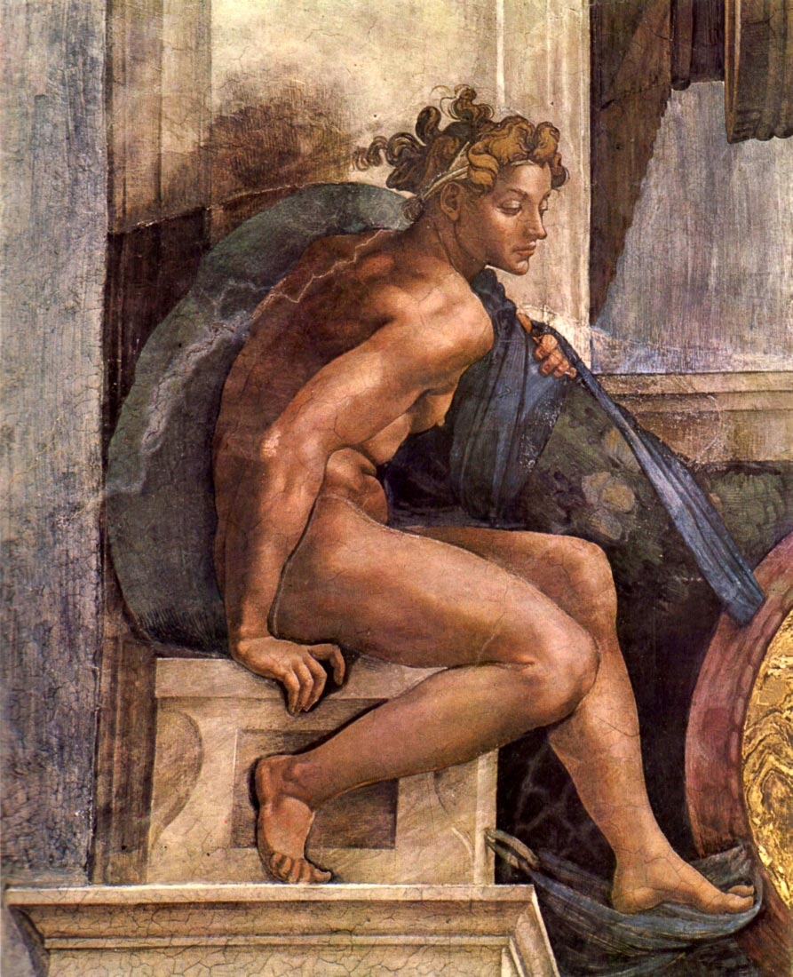 Creator God and youths, detail - Michelangelo