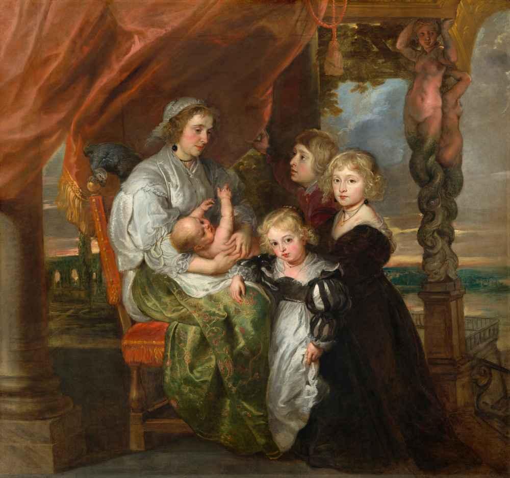 Deborah Kip, Wife of Sir Balthasar Gerbier, and Her Children - Peter P