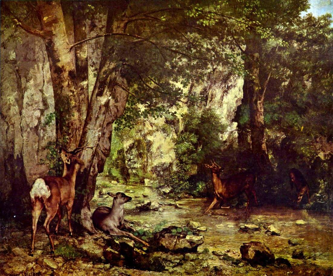 Deer in the Woods - Courbet