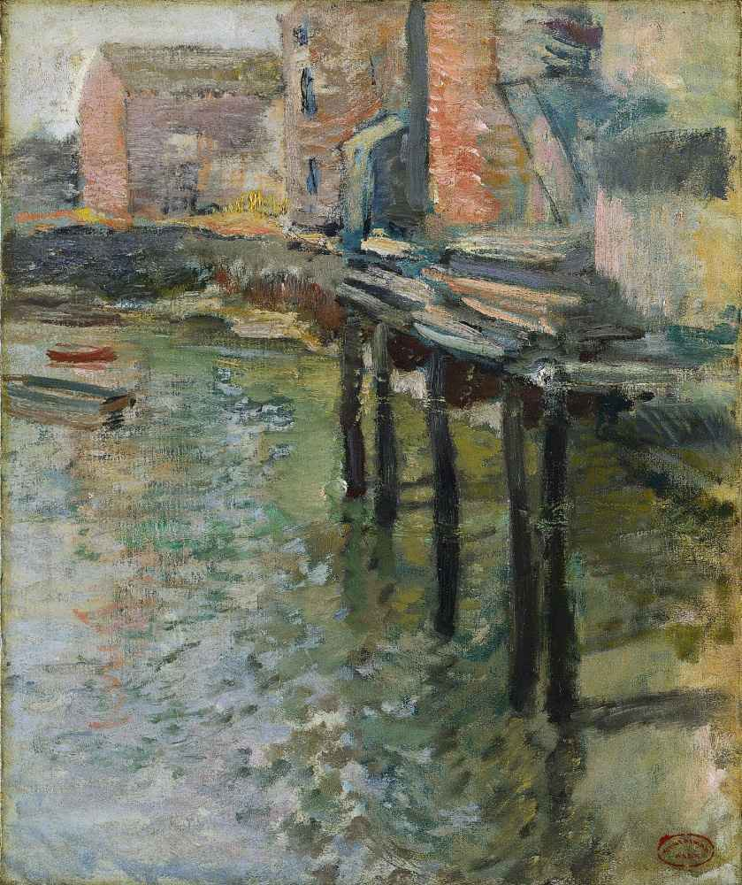 Deserted Wharf (The Old Mill at Cos Cob) - John Henry Twachtman
